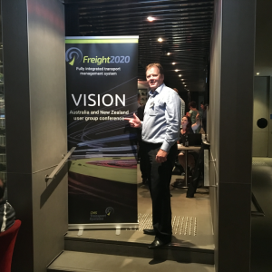 Grant Walmsley, general manager of CMS Transport Systems, welcomes delegates to the Freight2020 VISION 2017 pre-event welcome function sponsored by Progress